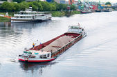 Barge on the river — Stock Photo