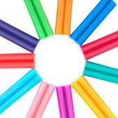 Set of colored plasticine isolated on white background — Stock Photo