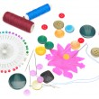 Set of buttons and sewing supplies — Stock Photo