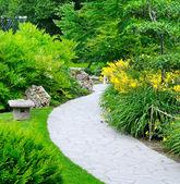 Parc d'été avec des chemins et des parterres de fleurs — Photo