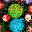 Background of Christmas decorations and candles — Stock fotografie