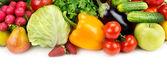 Ensemble de fruits et légumes isolés sur fond blanc — Photo