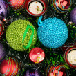 Background of Christmas decorations and candles — 图库照片