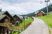 Cottages, chair lift in Carpathian Mountains — Stock Photo