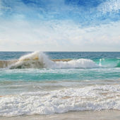 Sea, sand beach and blue sky — Stock Photo