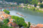 City, bridge, river and barge (top view) — Stock Photo