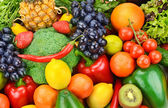 Background of ripe fruits and vegetables — Stock Photo
