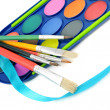 Watercolor paints and brushes — Stock Photo #50391573