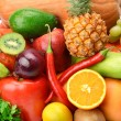 Bright background of a variety of vegetables and fruits — Stock Photo #51158757