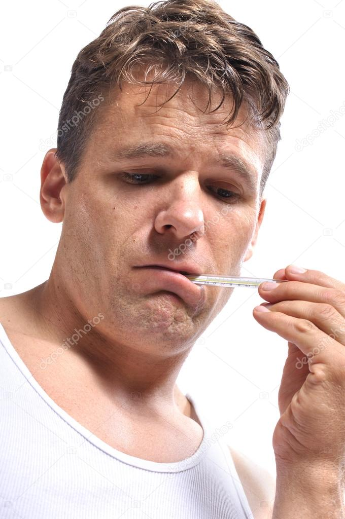 Closeup of very sick man with thermometer in mouth on white background — Stock Photo #13746113