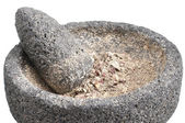 Ground potato in mortar and pestle — Stock Photo