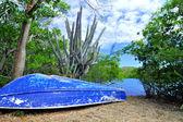 Piccola barca sulla spiaggia della laguna tropicale — Foto Stock