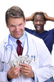 Greedy doctor — Stock Photo
