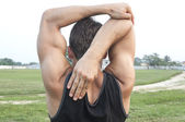Arm stretch and warm up — Stock Photo