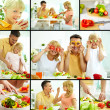 Family of vegetarians - Stock Photo