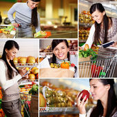 Girl in supermarket — Stockfoto