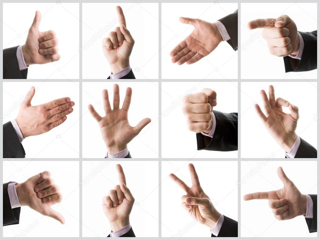 Collection of male hands showing various signs — Stock Photo #12224822