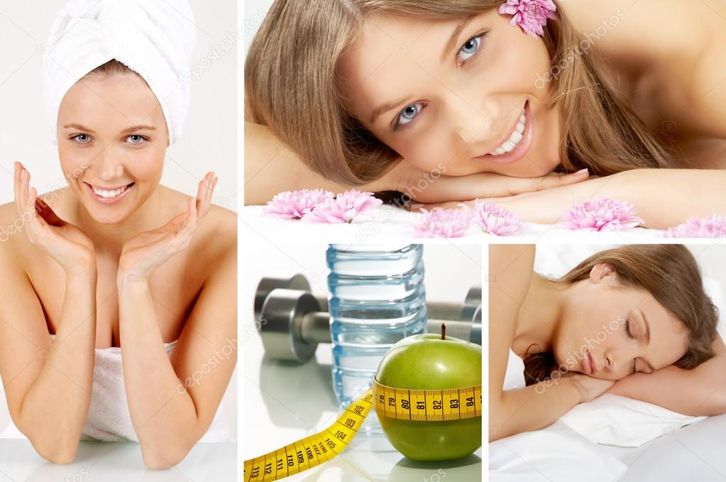 Collage of beautiful girl and objects for health and fitness — Stock Photo #12224935