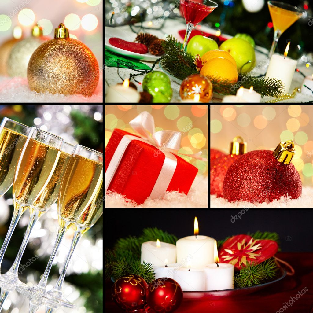 Collage of holiday objects on Christmas table — Stock Photo #12225192