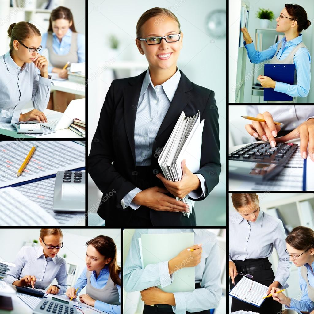 Collage of young businesswomen working in office — Stock Photo #12225380
