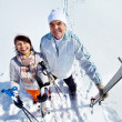 Mature skiers - Stock Photo