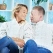 Couple in pullovers — Stock Photo