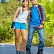 Stock Photo: Teenage roller skaters