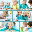 Schoolchildren drawing - Stock Photo