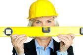 Woman with measuring tool — Stock Photo