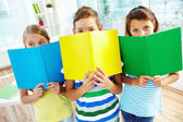 Schoolchildren with books — Foto Stock