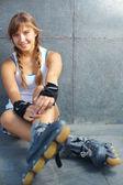 Güzel rollerskater — Stok fotoğraf