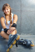 Pretty rollerskater — Stock Photo