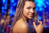 Girl wih champagne — Stock Photo