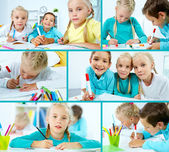 Schoolchildren drawing — Foto Stock