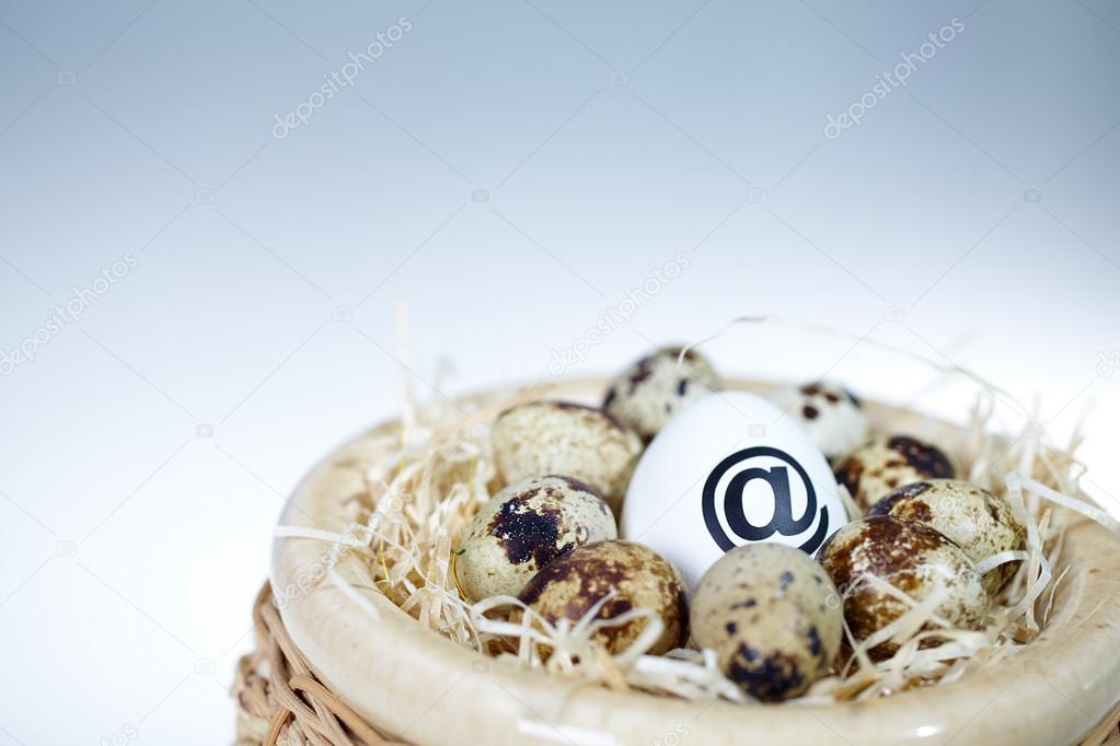 Image of big egg with at sign among smaller ones in nest — Stock Photo #13724418