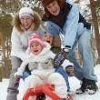 Family on sledge — Stock Photo #16042565