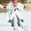 Skiing together — Foto Stock