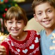 Kids on Christmas eve — Stock Photo