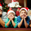 Santa family — Stock Photo