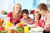 Thanksgiving vreugde — Stockfoto