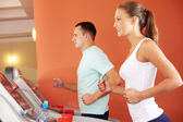Training in gym — Stock Photo