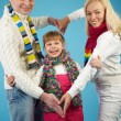 Family in winterwear — Stock Photo