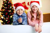 Santa kids — Stock Photo