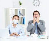 Working during epidemy — Stock Photo