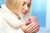 Desfrutando de café expresso — Foto Stock