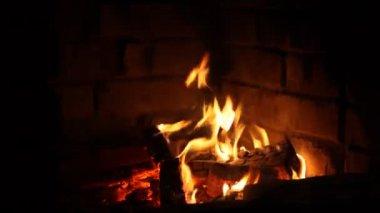 Fire in the dark — Stock Video