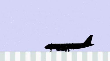 雪の飛行機 — ストックビデオ