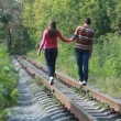 Walk on rails - Stock Photo