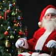Stock Video: Santa in a rocking-chair