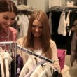 Girls enjoying shopping — Stock Video